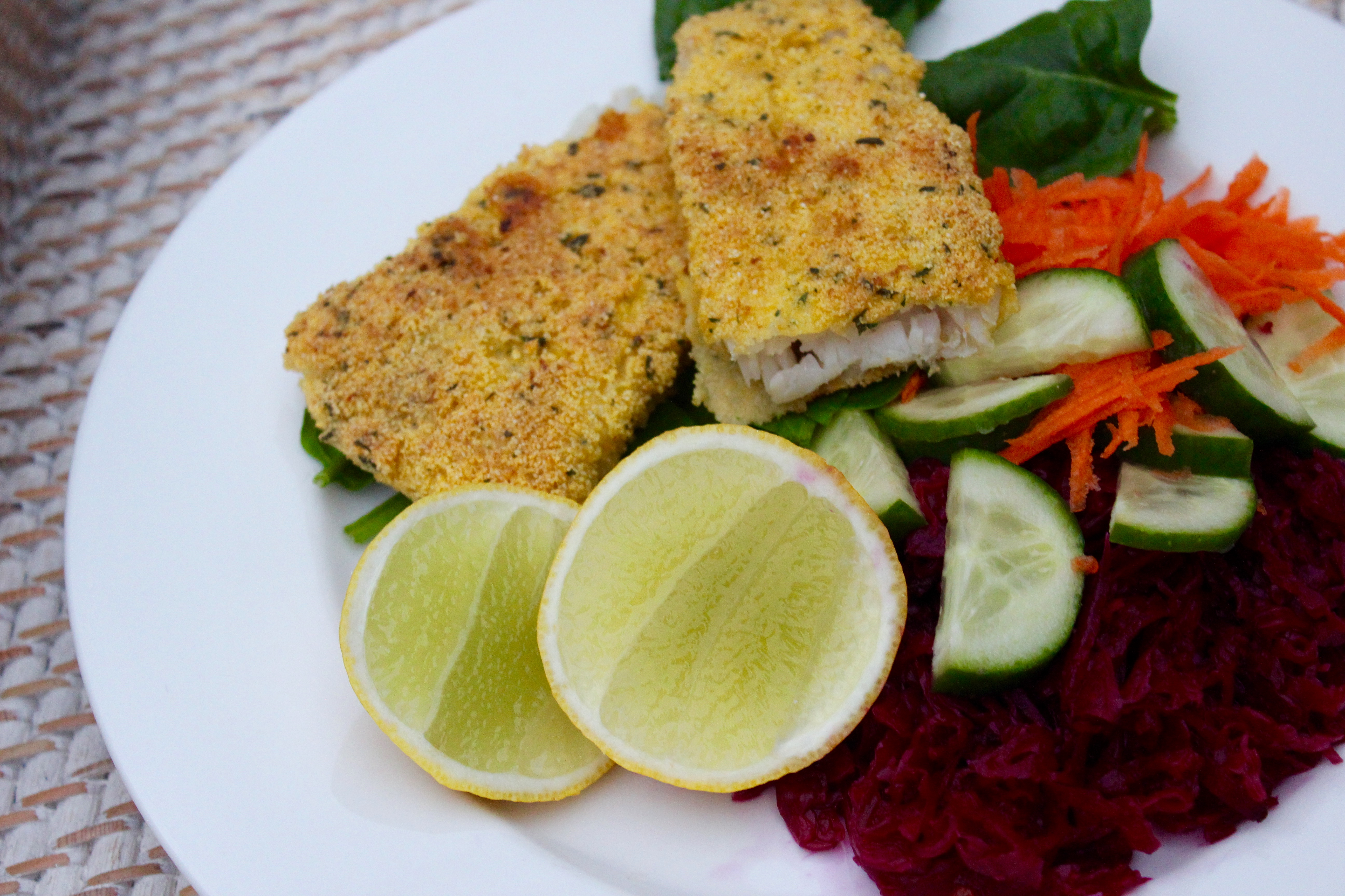 Polenta herb crumbed fish fillets gluten free cook for What to serve with fish fillets